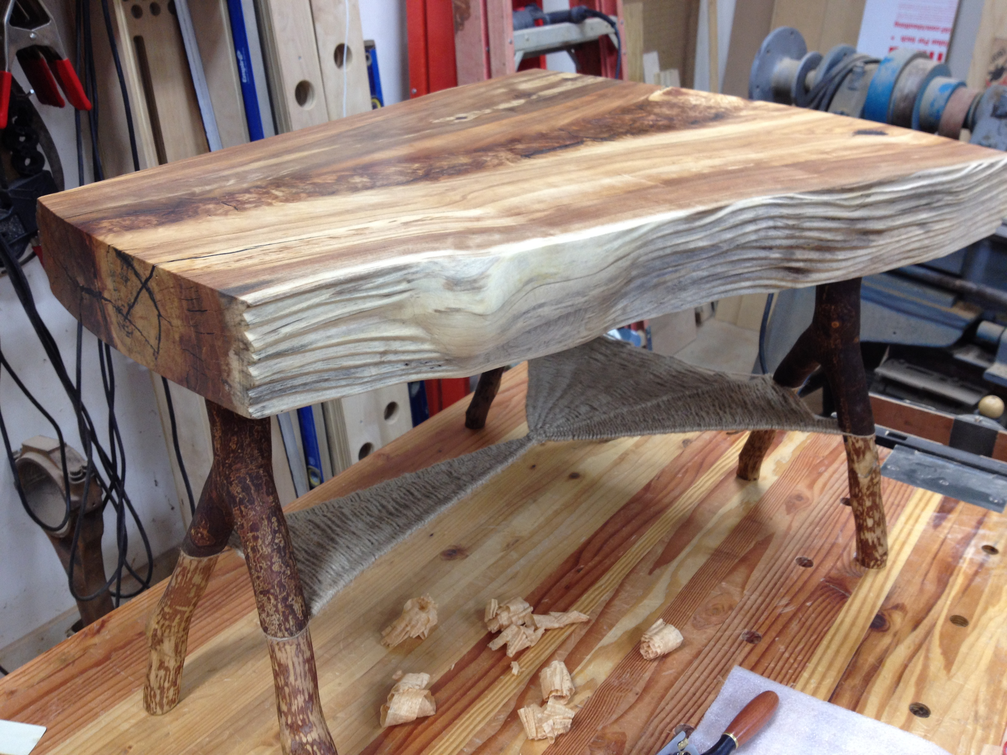 "This coffee table features a 3-1/2"" wild cherry top with hand carved ..."